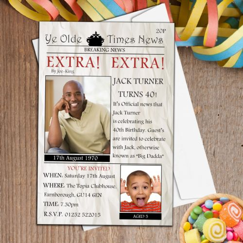 10 Personalised Newspaper Style Birthday PHOTO Invitations N132
